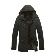 ขาย 2017 Autumn Men Jacket Outerwear Zipper Male Casual Coat Clothing Solid Thick Outwear Army Cotton Jackets 2Xl Army Green Intl ออนไลน์