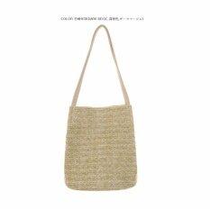 ราคา 2017 Beach Bag For Summer Big Straw Bags Handmade Woven Tote Women Travel Handbags Luxury Designer Shopping Bags Bucket Bag Dark Beige Intl Other Brands จีน