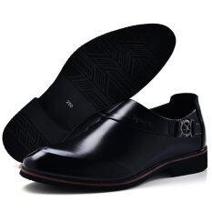 ขาย 2017 Business Dress Men Formal Shoes Wedding Pointed Toe Fashion Leather Shoes Flats Oxford Shoes Intl ถูก ใน จีน