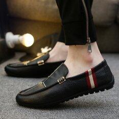 ขาย 2017 รองเท้าแฟชั่นผู้ชายแบบสบายๆฤดูร้อนระบายอากาศได้คนขี้เกียจรองเท้าหนังผู้ชาย สีดำ สนามบินนานาชาติ จีน
