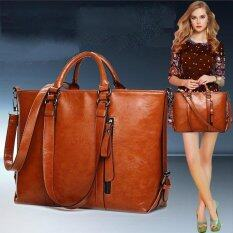 ซื้อ 2017 Fashion Pu Tote Women Leather Handbags Messenger Shoulder Bags (Brown) Intl ถูก ใน จีน