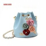 ขาย 2017 Handmade Flowers Bucket Bags Mini Shoulder Bags With Chain Drawstring Small Cross Body Bags Pearl Bags Intl ราคาถูกที่สุด