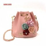2017 Handmade Flowers Bucket Bags Mini Shoulder Bags With Chain Drawstring Small Cross Body Bags Pearl Bags Intl ใน จีน
