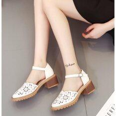ซื้อ 2017 Hollow Baotou Sandals Female Summer Flat Head Flat With The Word Buckle With The Korean Students With Low Hollow Shoes White Intl
