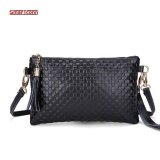 ราคา 2017 Hot Women Genuine Cow Leather Bag Fashion Tassel Knitting Pattern Ladies Clutch Chain Shoulder Crossbody Messenger Bags Black Intl
