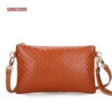 ซื้อ 2017 Hot Women Genuine Cow Leather Bag Fashion Tassel Knitting Pattern Ladies Clutch Chain Shoulder Crossbody Messenger Bags Orange Intl ถูก จีน