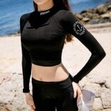 ส่วนลด 2017 Korean Women Letter Black Beachwear Sport Swimsuit 3 Pieces Suncreen Long Sleeve Swimwear Intl