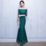 ส่วนลด 2017 New Fashion Word Shoulder Evening Dress Toastmaster Elegant Fishtail Lace Long Sleeve Bride Toast Clothing Blackish Green Long Paragraph Intl Unbranded Generic