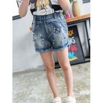 2017 สาวใหม่เสื้อผ้าเด็กเกาหลีรุ่นของลูกปัดกางเกงยีนส์กางเกงขาสั้นกางเกง - นานาชาติ