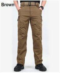 ขาย ซื้อ ออนไลน์ 2017 New Men Casual Cotton Pockets Pants Ix9 Militar Tactical Cargo Pants Combat Swat Army Train Military Pants L Brown