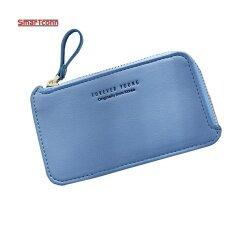 2017 New Woman Purse Mini Wallet Zip Korean Fashion Wallet Fashion Female Short Wallet Blue Intl จีน