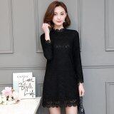 ราคา 2017 Spring Korea Plus Size New Women Fashion Long Sleeved Turtleneck Slim Black Lace Dress Casual Dress Vestidos 5001 Intl ที่สุด