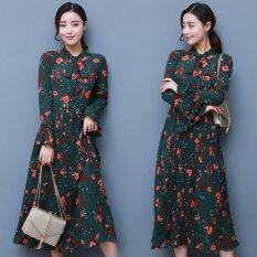 ซื้อ 2017 Spring New Dress Women S Bow Knot Temperament Chiffon Print Dress Women S Clothing Intl ใหม่ล่าสุด