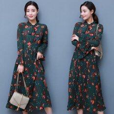 ความคิดเห็น 2017 Spring New Dress Women S Bow Knot Temperament Chiffon Print Dress Women S Clothing Intl