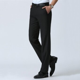 2017 Summer Formal Men Suit Pant for Business Thin Loose Straight Casual Trousers for Midi-aged Male Black - intl