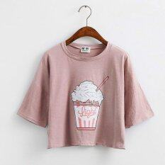 ส่วนลด สินค้า 2017 Summer New Women T Shirt Ice Cream Korean Style Cotton Loose Crop Tops Pink Intl