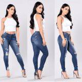 ราคา 2017 เสื้อผ้าแฟชั่น Fashion Tall Waist Ripped Jeans For Women ยางยืดกางเกง สีน้ำเงินเข้ม Unbranded Generic ออนไลน์
