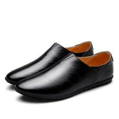 ขาย 2017 Urban Men Leather Slippers Handmade Men Dress Shoes Comfortable Soft Driving Business Slipper Intl ออนไลน์ จีน