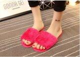 ขาย ซื้อ ออนไลน์ 2017 Winter New Fluffy Women S Flat Heeled Flat Comfort Comfortable Plush Warm Slippers Home Anti Slip Plush Word Slippers Rose