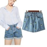 โปรโมชั่น 2017 Women Clothing High Waist Slim Pineapple Embroidery Washed Cotton Denim Shorts Female Fashion Casual Straight Short Jeans Intl ถูก