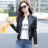 ขาย ซื้อ 2017 แฟชั่นผู้หญิงเสื้อหนังเกาหลีสไตล์สาวสั้นขนาดบางเสื้อทนกว่า Blazer ดำ นานาชาติ จีน