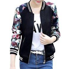 2017 เสื้อแจ็คเก็ตผู้หญิงดอกไม้พิมพ์ซิปสบายเบสบอลเสื้อบางเสื้อแขนยาวเสื้อแจ็คเก็ต C (สีดำ) - นานาชาติ.