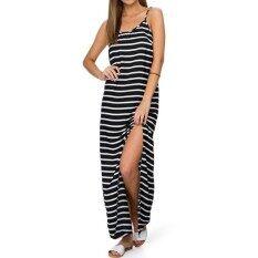 ส่วนลด 2017 Zanzea Women Striped Sleeveless Party Beach Sundress Summer Sudress High Split Casual Loose Long Maxi Dress Black Intl Zanzea แองโกลา