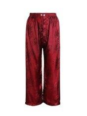 ราคา กางเกงผ้าแพร รุ่นเอวยางยืด มีกระดุมหน้า สีเลือดหมู เอว 28 32 ใหม่