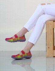 ส่วนลด 29November รองเท้าเพื่อสุขภาพ รองเท้าผ้าใบ รุ่น ผ้ายืดถักกระชับเท้า Elastic Hand Woven Sandals Code 331 สีบานเย็น Fusia Yellow 29 Nov