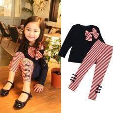 ส่วนลด สินค้า 2Pcs Kids Baby Girls Clothing Long Sleeve Bowknot Dress T Shirt Stripe Pants Set Navy Intl