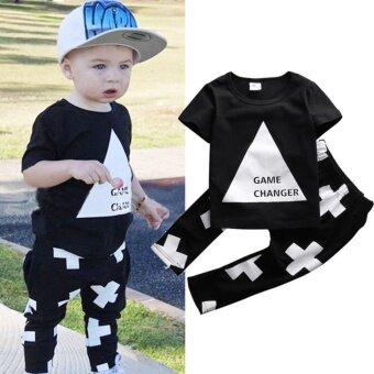 2pcs Newborn Toddler Infant Kids Baby Boy Clothes T-shirt Tops+Pants Outfits Set - intl