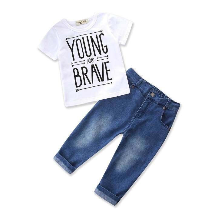 แนะนำ Amart Cotton Newborn Baby Infant Boy Clothes… รีวิว 2pcs Outfits White T-Shirt Jeans Cowboy long Pants Summer Kids Clothes Boys Clothing
