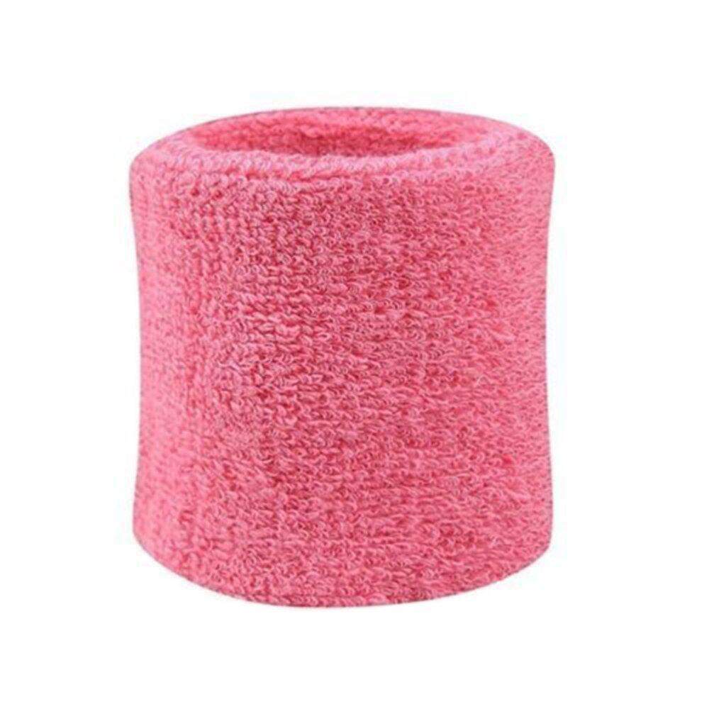 2pcs Sweatbands Wristband Tennis Squash Badminton Gym Football Wrist Bands Pink - intl