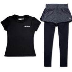 2 เซ็ตผู้หญิงเสื้อผ้ากีฬาเสื้อยืด + กางเกงโยคะสีดำวิ่งชุดออกกำลังสุภาพสตรีแห้งเร็วเสื้อผ้า - Intl.