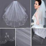 2T Embroidery Pearls Beaded Edge Bridal Wedding Elbow Veil W Comb White Intl ถูก