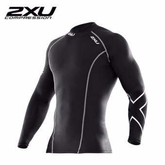 2XU Men's Long Sleeve Compression Top Black/Silver