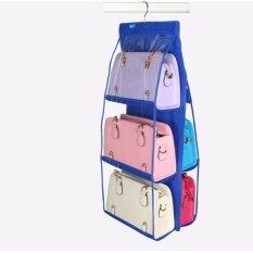 ราคา ที่จัดระเบียบกระเป๋าถือแบบแขวน 3 ชั้น 2 ด้าน สีน้ำเงิน No Brand ใหม่