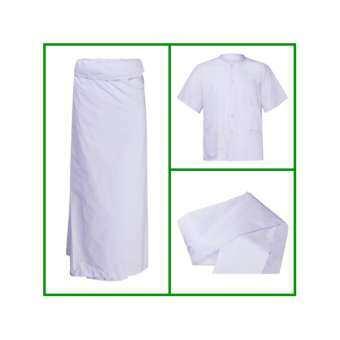 S.M,L,XL,XXL.4XL ชุดปฏิบัติธรรม ครบเซท 3 ชิ้น (เสื้อแขนสั้น +ผ้าถุงขาว +และสไบ)