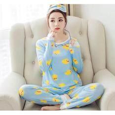 ซื้อ ชุดนอน ลายเป็ด เซท3ชิ้น เสื้อแขนยาว กางเกงขายาว ปิดตา ใหม่
