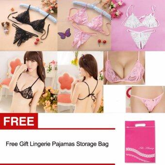 3 Pack Women Sexy Lace Bras + G-string Lingerie Sets With Storage Bag(Black White Pink) - intl