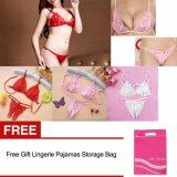 โปรโมชั่น 3 Pack Women S*xy Lace Bras G String Lingerie Sets With Storage Bag Red White Pink Intl จีน