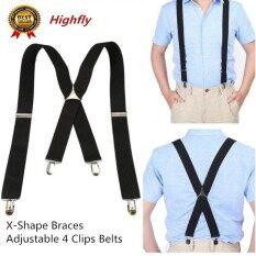 ขาย ยืดหยุ่นกางเกง 3 5 เซนติเมตรกว้างผู้ชาย X Shape Braces ปรับ 4 คลิป เข็มขัด Clip On Braces สีดำ Unbranded Generic