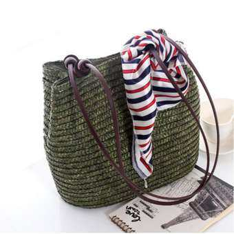 360DSC กระเป๋าสไตล์ตะวันตกกระเป๋าลูกปัดไม้ตกแต่ง Wheatgrass กระเป๋าชายหาด - กองทัพสีเขียว-
