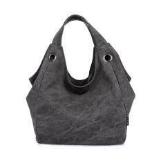 โปรโมชั่น 360Dsc ผู้หญิงขนาดใหญ่ความจุผ้าใบสีกุ๊ยกระเป๋ากระเป๋าสะพายกระเป๋าถือ ดำ สนามบินนานาชาติ ถูก