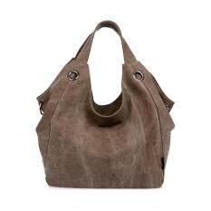 ซื้อ 360Dsc ผู้หญิงขนาดใหญ่ความจุผ้าใบสีกุ๊ยกระเป๋าสะพายกระเป๋าถือ กาแฟ สนามบินนานาชาติ ฮ่องกง