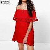 ราคา 3 Colors Zanzea Women Off Shoulder Ruffled กระโปรงหลวมๆสบายๆ Blusas Summer Tassel ปาร์ตี้ชายหาด Mini Short Dress Vestido สีแดง ใหม่