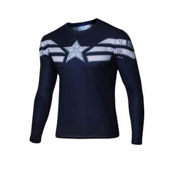 MARVEL สหรัฐอเมริกาหัวหน้าทีมยาวเสื้อยืดแขนสั้นปลอกคอกลม 3D พิมพ์ลายแฟชั่นผู้ชายกีฟาสลิมแขนเสื้อยาวเสื้อยืดแขนสั้น