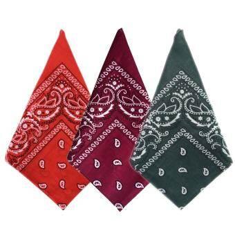 3 ชิ้น Multifuntional ผ้าพันคอสี่เหลี่ยมจัตุรัสสายรัดศีรษะผ้าฝ้ายฮิปฮอป Headwear Headwrap ผู้ชายผู้หญิงกีฬากลางแจ้งคอผ้าพันคอสี C - INTL-