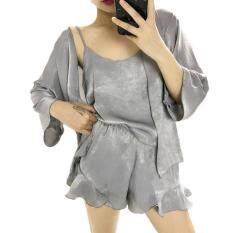 ราคา ชุดนอนผ้าไหมซาตินผ้าเงาเนื้อนิ่มพลิ้ว ชุด 4 ชิ้น เทา ออนไลน์ Thailand
