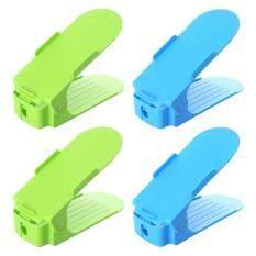 โปรโมชั่น 4Pcs Adjustable Plastic Double Layer Shoe Rack Hanging Shoe Organizer Storage Intl